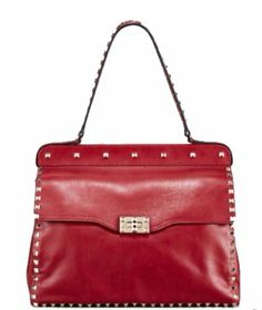 RockStud Shoulder-Strap Bag by Valentino at Neiman Marcus. Valentino Handbags, Valentino Rockstud, Valentino Red, Stylish Handbags, Shoulder Strap Bag, Timeless Fashion, Neiman Marcus, Heeled Boots, Satchel