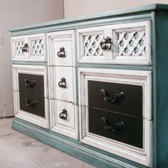 Teal And Cream Re-finished, Hand Painted Low Dresser