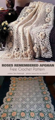 This afghan pattern makes use of a beautiful, mesh-like stitching with a wavy edge to form the background for prominently raised roses. This highly textured Afghan Patterns, Crochet Blanket Patterns, Crochet Motif, Crochet Designs, Crochet Stitches, Afghan Crochet, Crochet Chart, Diy Crochet And Knitting, Crochet Hooks