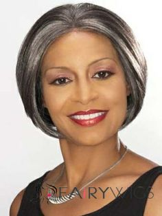 Hand Tied Short Straight Gray African American Lace Wigs for Women