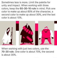 Mix it up with the color palette, try the 60/30/10 rule. Y0% one color, 30% another, 10% of the last. Or try 70/30, if you want to keep it more limited Drawing Tips, Drawing Reference, Drawing Stuff, Drawing Tutorials, Doodle Drawing, Design Reference, Art Tutorials, Cool Drawings, Character Design Tips