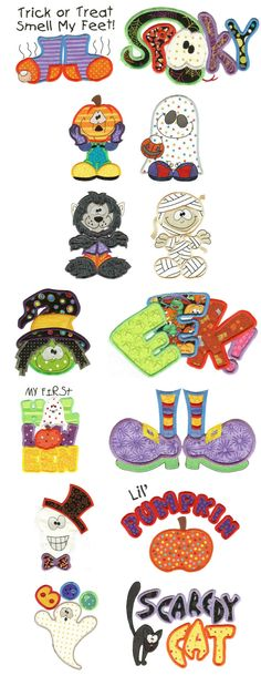 Embroidery Free Machine Embroidery Designs Treats n Tricks Halloween Applique Too Embroidery Monogram, Applique Embroidery Designs, Machine Embroidery Applique, Free Machine Embroidery Designs, Embroidery Fonts, Applique Patterns, Hand Embroidery, Embroidery Ideas, Art Halloween