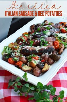 Grilled Italian Sausage & Red Potatoes using @Gayle Roberts Merry With Reds #BetterWithReds #SummerFood #Grilling