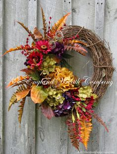 Hingham Fall Garden Wreath  ~A New England Wreath Company Designer Original~