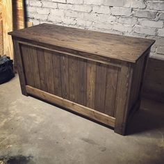 "Solid wood trunk, with lift off lid. Measures 24x48"" Shown in Dark Walnut stain. Local pick-up only."