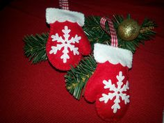Filz (Felt),Handschuhe aus Filz, Anhänger für den Weihnachtsbaum, DIY Handarbeit