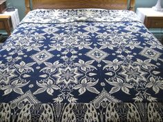 Antique Jacquard Woven Coverlet by AndOnToWillow on Etsy