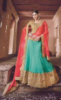 Light Red & Sky Blue Net Lehenga Choli  Amazing Indian wedding photography inspiration  #indianwedding #indianbride
