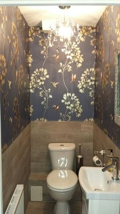 Tiny Cloakroom Harlequin Wallpaper Wall Paper In 2019 Toilet Room Decor, Small Toilet Room, New Toilet, Small Bathroom, Bathroom Grey, Bathroom Ideas, Cloakroom Wallpaper, Wallpaper Wall, Harlequin Wallpaper