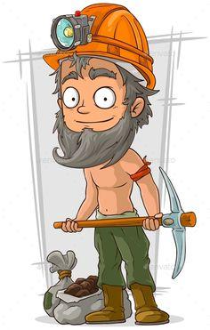Cartoon Bearded Digger With Coal In Helmet