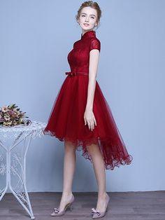 A-Line Asymmetrical Tulle Qipao / Cheongsam Wedding Dress in Lace