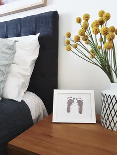 An everlasting keepsake of your baby' footprints for display.  using mess free print kit.