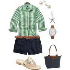 green gingham and blue