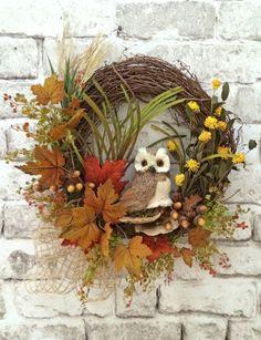 Owl Wreath, Fall Wreath for Door, Autumn Wreath, Front Door Wreath, Outdoor Wreath, Silk Floral Wreath, Grapevine Wreath,Thanksgiving Wreath