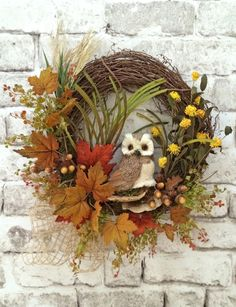 Owl Wreath, Fall Wreath for Door, Autumn Wreath, Front Door Wreath, Outdoor Wreath, Silk Floral Wreath, Grapevine Wreath,Thanksgiving Wreath