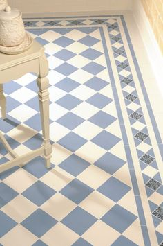 These tiles are to die for! Victorian Floor Tiles - Dorchester pattern in Dover White and Blue with modified Kingsley border Hall Flooring, Bathroom Flooring, Kitchen Flooring, Bathroom Cladding, Flooring Ideas, Kitchen Floor Tiles, Loft Flooring, Ceramic Flooring, White Flooring