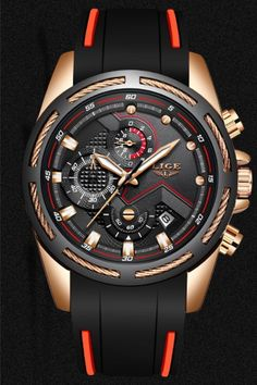 This multi-functional watch features luminous hands, chronograph and calendar.