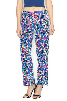 Kaleidoscope print pants with a beautiful drape that hangs straight though the leg. The waist is elastic.    Kaleidoscope Fabiana Pant by The House of Perna. Clothing - Bottoms - Pants & Leggings - Flare & Wide Leg Delray Beach, Florida