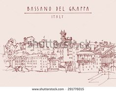 Panoramic view of Bassano del Grappa, Italy. Historical buildings in old center. Vector line art freehand drawing. Travel sketch, hand lettering. Tourist postcard template. Engraved style illustration