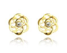Queen's Jewelry 18k Gold Plated Clear Crystal Flower Stud Earrings Butterfly #QueensJewelry #Stud