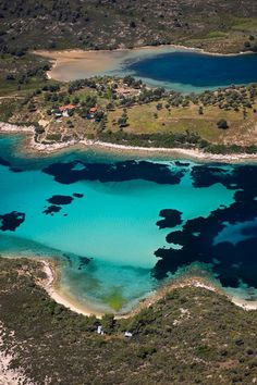 Fine white sand and shallow translucent waters broken only by patches of deep cobalt and bright turquoise, Halkidiki, Greece Beautiful Islands, Beautiful Beaches, Beautiful World, Places To Travel, Travel Destinations, Places To Visit, Places In Greece, Thessaloniki, Greece Travel