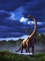 """""""Brachiosaurus"""" by Jerry LoFaro: Acrylic painting, digitally remastered. Originally created for the children's book 'How Life Began', by Melvin Berger."""