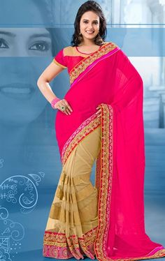 Picture of Radiant Beige and Pink Color Saree for Party