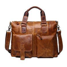b9ba0b0476 Men s Multipurpose Crazy Horse Leather Shoulder Messenger Briefcase Hi-Q Bag   fashion  clothing