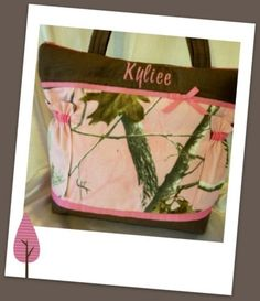 Personalized Pink camo diaper bag