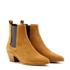 Saint Laurent - Wyatt suede Chelsea boots - Build the foundations to sleek style with Saint Laurent's toffee suede Chelsea boots. Meticulous texture and a pointed toe render this one impeccably crafted wardrobe staple capturing Slimane's streamlined aesthetic. seen @ www.mytheresa.com