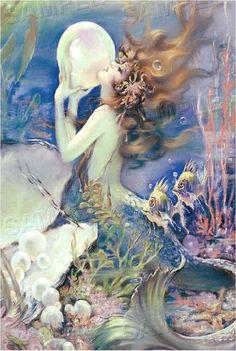 Vintage Fantasy Pearl Bubble Mermaid Ocean Sea Nymph Canvas Art Print Large   eBay