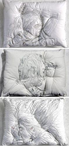 (17) Sleeping People Embroidered Onto Handmade Pillows by Maryam Ashkanian | Design | Pinterest