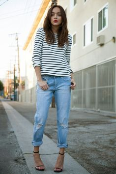Ring My Bell: Get on Breton. Perfect Breton top and ripped jean combo - just add heels and a red lip