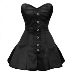 GC-1029 - Black Satin Style Corset with Long Flared Trim - Steel boned overbust corsets - Steel Boned Corsets
