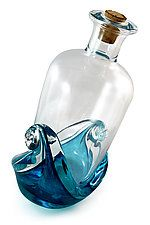 """Message in a Bottle by Michael Richardson, Justin Tarducci and Tim Underwood (Art Glass Sculpture) (6.5"""" x 3"""")"""