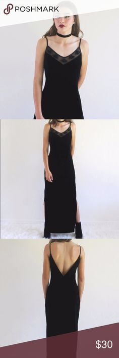 """90s Grunge Vintage Black Velvet Maxi Slip On Dress I own too much black, said no one ever. This chic pullover black velvet maxi dress features a v-neck mesh panel with floral accents, stretchy fabric, deep side slits and a v-back. Get ready to turn heads, you have been warned! Brand is All That Jazz. Dress does not have a size tag or material tag. Dress has stretch to it. Dress can fit a Small or Medium. Please see measurements👉🏼Length : 56"""" Bust: 28"""" Waist: 26"""" Hip: 36"""" Slit length: 23.5""""…"""