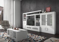 Muebles salon en brezo plata y blanco | Muebles Arevalo en Madrid Mueble salón Brezo 1 color Nogal y  Miel pvp: 1.860€   20% descuento http://muebles-arevalo.es/ #Muebles #Salón  #muebles_salon #muebles #precio #muebles_madrid #tienda_muebles#madrid #madera