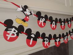 Mickey Mouse Birthday Banner Fancy Font with Age and Custom