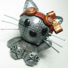 Hello Kitty Steampunk Industrial Sculpture by DevilishDesigns,+$55.00 #Steampunk #hellokitty #cat