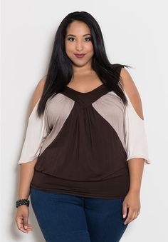 Molly Color Block Top From the Plus Size Fashion Community at www.VintageandCurvy.com