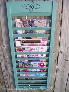 Shutter Upcycled (repurposed) into Magazine Rack... Perfect for my magazine obsession... though my husband would disagree.