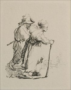 Two Travelling Peasants. 1634. Etching. 63 x 48 mm. Rembrandt van Rijn