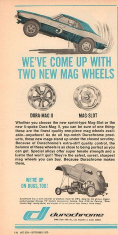 1970 Durachrome Mag Wheels Advertisement Hot Rod September 1970 | Flickr - Photo Sharing!