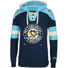 CCM Pittsburgh Penguins Hockey Pullover Hoodie - Navy Blue/Light Blue