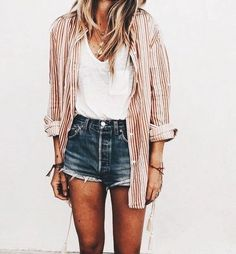 denim shorts, button down shirt over tee