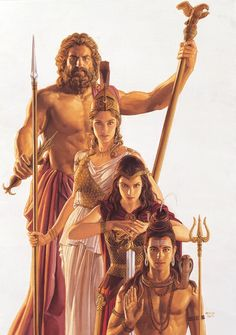 Tsuyoshi Nagano, Zeus, Hera, Athena and Poseidon. Athena Goddess, Goddess Art, Greece Goddess, Greek And Roman Mythology, Greek Gods, Pagan Gods, Legends And Myths, Nagano, Greek Art