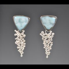 Blue druzy, argentium silver earrings - Lori Gottlieb