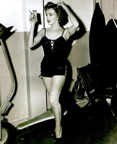 """Marilyn Monroe photographed on the set of """"We're Not Married"""" in 1952"""