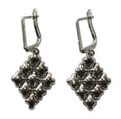 Liquid Metal Small Diamond Shape Mesh Earrings by Sergio Gutierrez E11