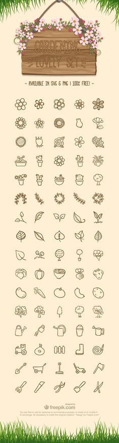 Free Gardening Icon Set - - Fribly - Free Gardening Icon Set – – Fribly Wundertastisch ∆ Art Inspiration ∆ RYAN: You could go very simple with the action set of icons and just use the tool that applies. Seed packet, pot, watering - - Tips and İdeas - Doodle Drawings, Doodle Art, Doodle Tattoo, Flower Drawings, Icon Set, Icon Design, Web Design, Do It Yourself Inspiration, Doodles